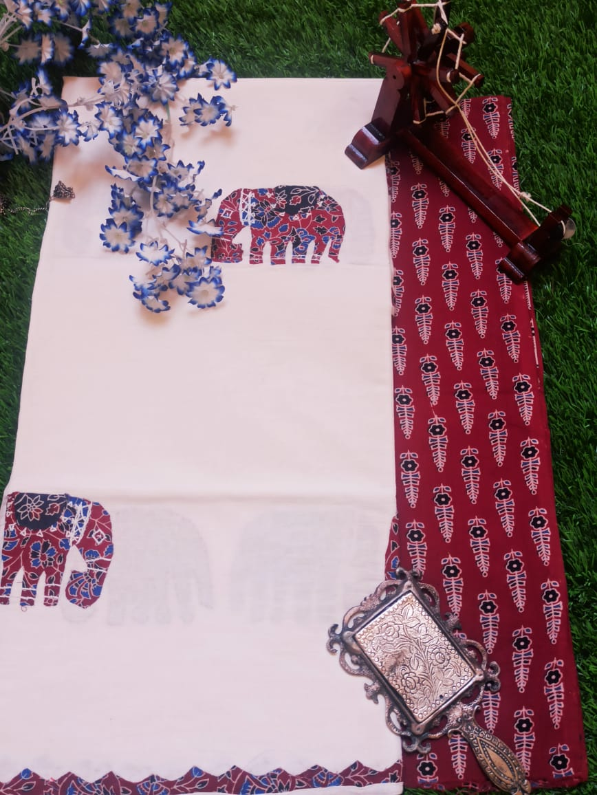 Ajarakh print suit piece with applique work mul dupatta
