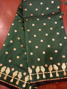 border of zari birds on bottle green silk saree - EthnicRoom