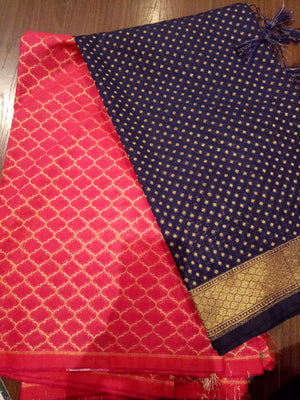 Navy blue Chanderi dupatta with pink chanderi suit material - EthnicRoom