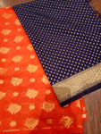 Navy blue Chanderi dupatta with orange chanderi suit material - EthnicRoom