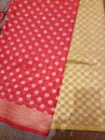 Red Chanderi dupatta with light yellow suit material - EthnicRoom