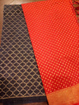 Red Chanderi dupatta with navy blue suit material - EthnicRoom