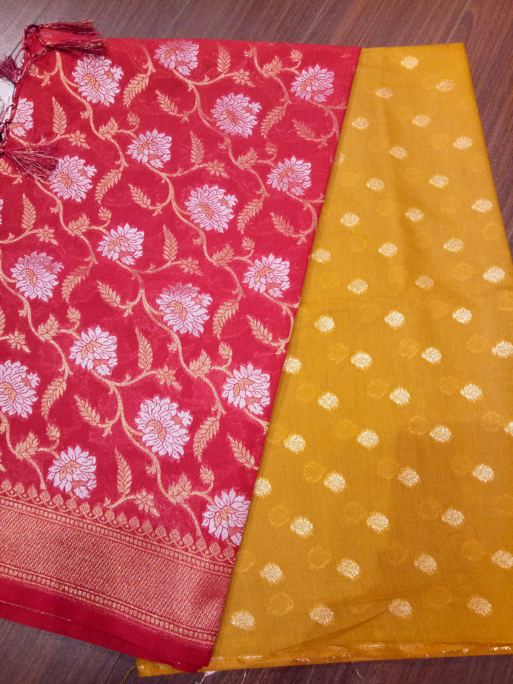 Red Chanderi dupatta with mustered yellow suit material - EthnicRoom