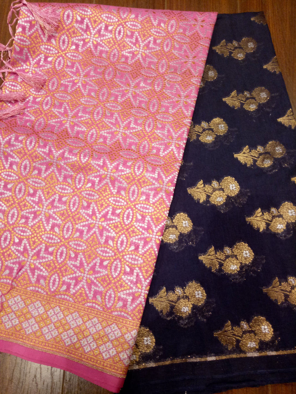 Pink chanderi dupatta with navy blue suit material - EthnicRoom