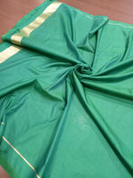 Green pure silk saree with golden bird zari weaving - EthnicRoom