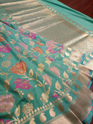 Light green pure silk saree with jaal overall - EthnicRoom