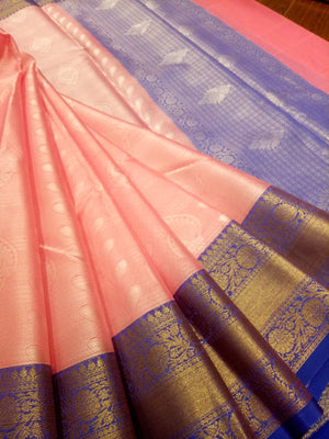 Peach tanchoi kora saree with blue border and golden zari weaving - EthnicRoom