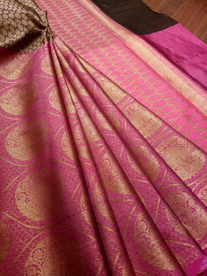 Horizontally divided in brown and pink tanchoi kora saree with golden zari weaving - EthnicRoom