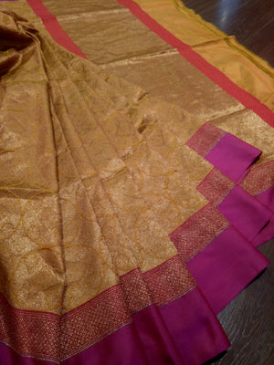 Yellow pure silk saree with pink border and golden zari weaving - EthnicRoom