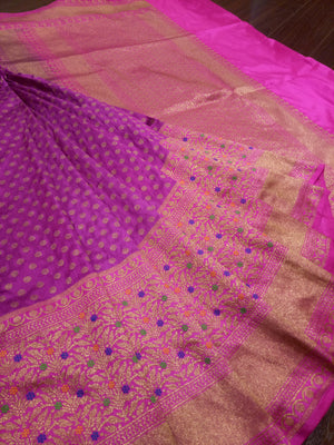 Pink pure silk saree with golden zari weaving and butties - EthnicRoom