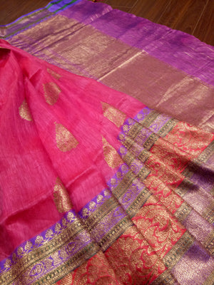 Pink pure silk saree with golden zari weaving - EthnicRoom