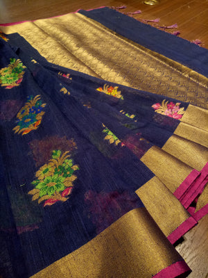 Blue Chanderi saree with Multicolor flowers all over and golden zari weaving - EthnicRoom