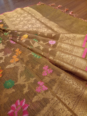 Brown chanderi saree with golden zari weaving and colourful flowers jaal overall - EthnicRoom