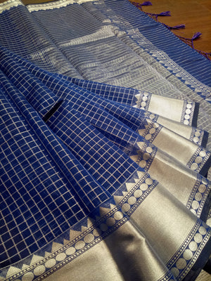 Blue check chanderi saree with sliver zari weaving and sliver border - EthnicRoom