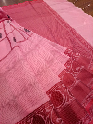 Pink check chanderi saree with red border - EthnicRoom