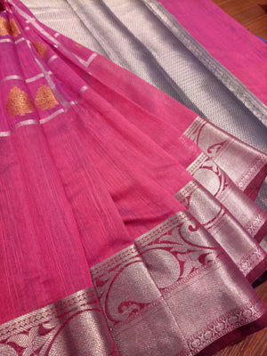 Pink chanderi saree with sliver zari weaving with golden butties - EthnicRoom