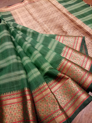 Green chanderi saree with golden zari weaving - EthnicRoom
