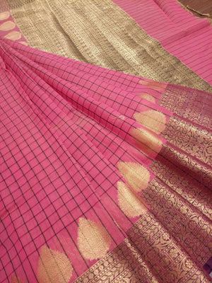 Pink check chanderi saree with golden zari weaving - EthnicRoom