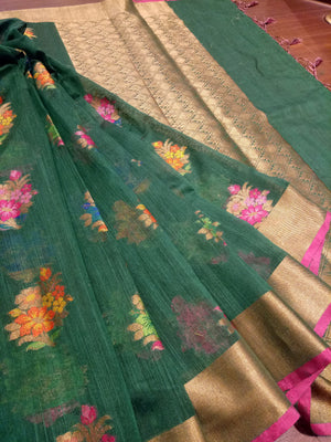 Green chanderi saree with Multicolor flowers and golden zari weaving - EthnicRoom