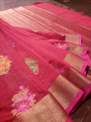 Red Chanderi saree with Multicolor flowers and golden zari weaving - EthnicRoom