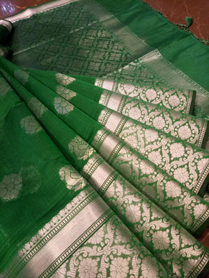 Dark green soft silk saree with silver zari weaving - EthnicRoom