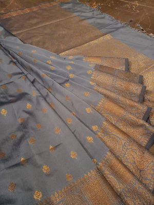 Grey soft silk saree with golden zari weaving and butties all over - EthnicRoom