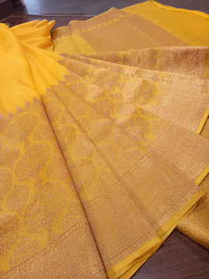 Yellow katan tusser silk saree with golden zari weaving - EthnicRoom