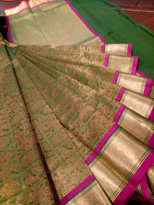 Green katan tusser silk saree with golden zari weaving all over - EthnicRoom