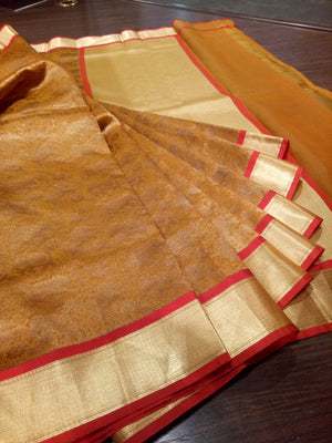 Musterd yellow kora silk saree with golden weaving all over - EthnicRoom