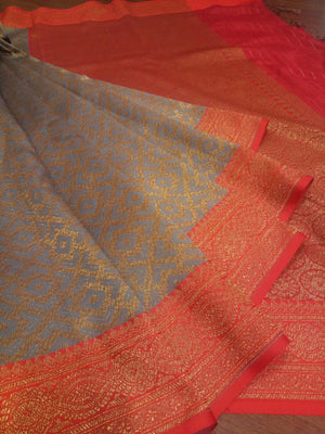 Grey soft silk saree with golden zari weaving all over - EthnicRoom