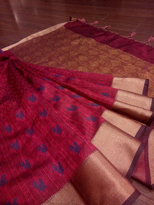 Dark brown linen saree with golden zari weaving - EthnicRoom