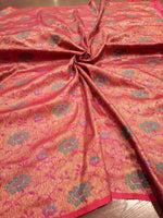 Purple dupion silk saree with Multicolor flowers all over and red small border