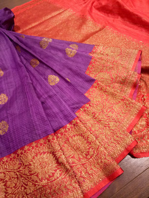 Purple dupion saree with golden zari weaving and
