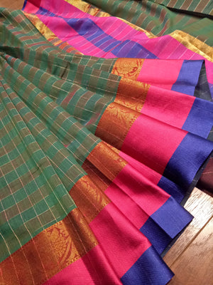 Olive green check chanderi saree with golden zari weaving and pink and blue border - EthnicRoom