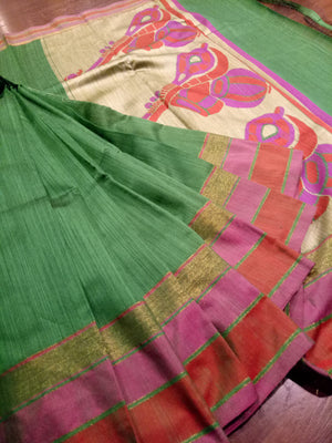 Green chanderi saree with golden zari weaving and pink and red border - EthnicRoom