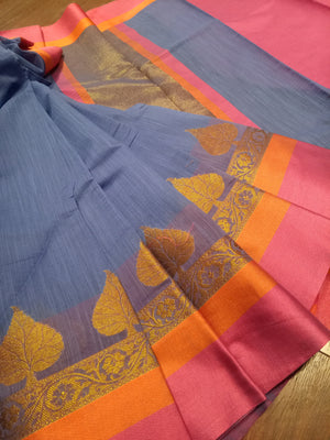 Blue Chanderi saree with golden zari weaving and orange, pink border - EthnicRoom