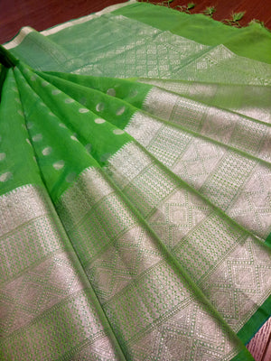 Green soft silk saree with sliver zari weaving and booties all over - EthnicRoom