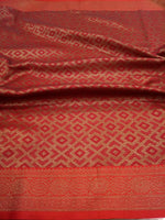 Red soft silk saree with golden zari weaving and golden weaving all over