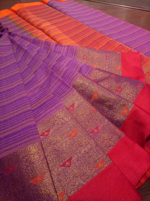 Purple and pink chanderi saree with golden zari weaving and red border