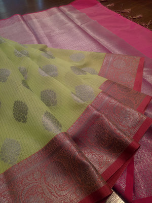 Light green kota saree silver zari weaving on red border and booties all over - EthnicRoom