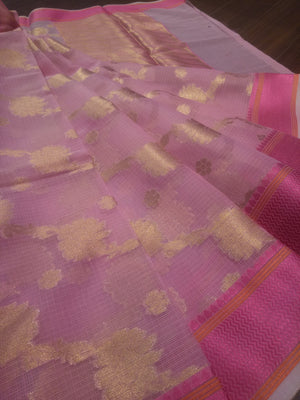 Light pink kota saree with golden weaving allover and pink border - EthnicRoom