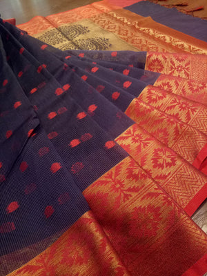 Dark blue kora saree with golden zari weaving on red border and red booties all over - EthnicRoom
