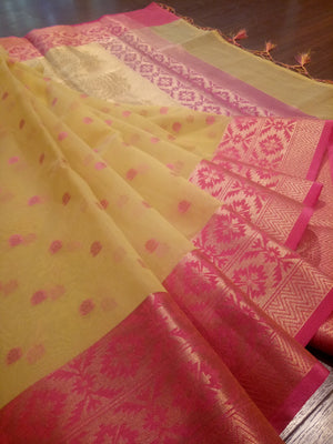 Yellow kora saree with golden zari weaving on pink border and pink botties all over - EthnicRoom