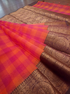Multicolor check kora saree with golden zari weaving on brown border - EthnicRoom