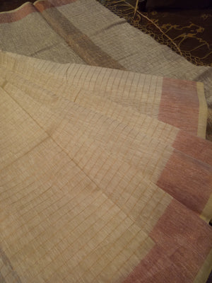 Off white chanderi saree with light brown border - EthnicRoom