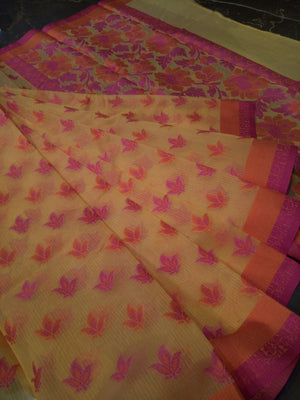 Yellow supernet kota saree with Multicolor flowers allover - EthnicRoom