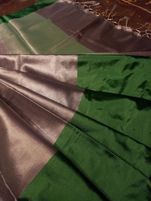Grey plain zari linen saree with green border - EthnicRoom
