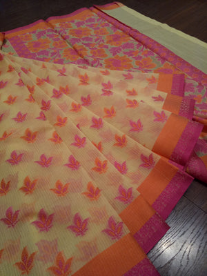 Light yellow supernet kota saree with Multicolor flowers all over and pink and orange border - EthnicRoom