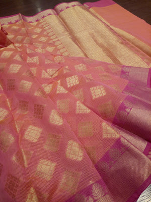 Light pink supernet kota saree with golden zari weaving and golden booties all over - EthnicRoom