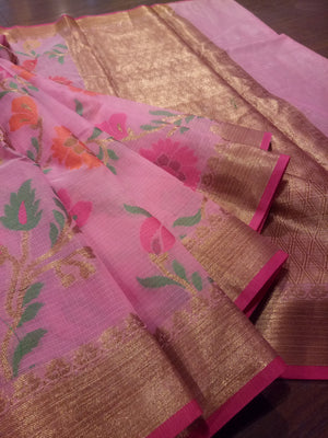 Pink kota saree with golden zari weaving and Multicolor flowers all over - EthnicRoom